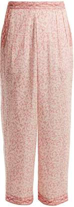 Masscob Wide-leg paisley-print cotton trousers