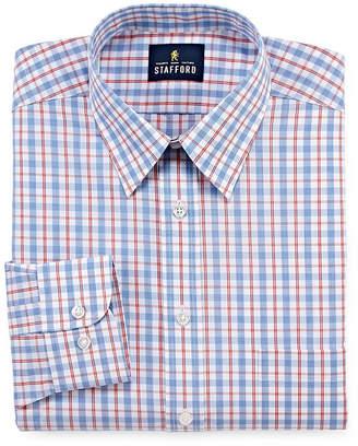 STAFFORD Stafford Travel Performance Super Shirt - Big & Tall Long Sleeve Broadcloth Plaid Dress Shirt