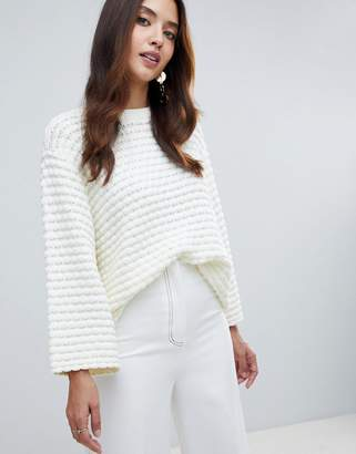Y.A.S Textured Knitted Boxy Cropped Sweater