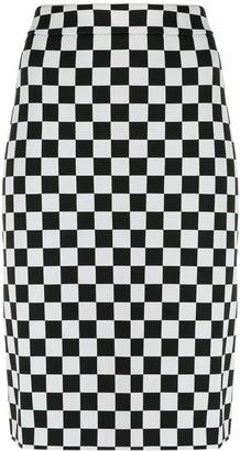 Moschino chess pencil skirt