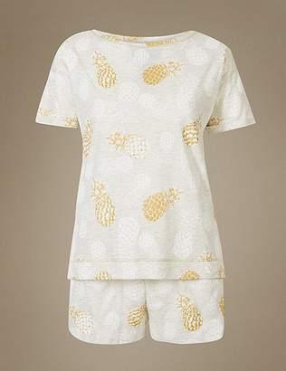 Marks and Spencer Cotton Rich Pineapple Print Short Pyjama Set