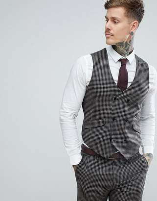 Asos DESIGN Wedding Slim Suit Vest 100% Wool Houndstooth In Putty
