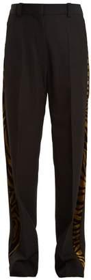 Hillier Bartley Barathea Contrast Panel Linen Trousers - Womens - Black Gold