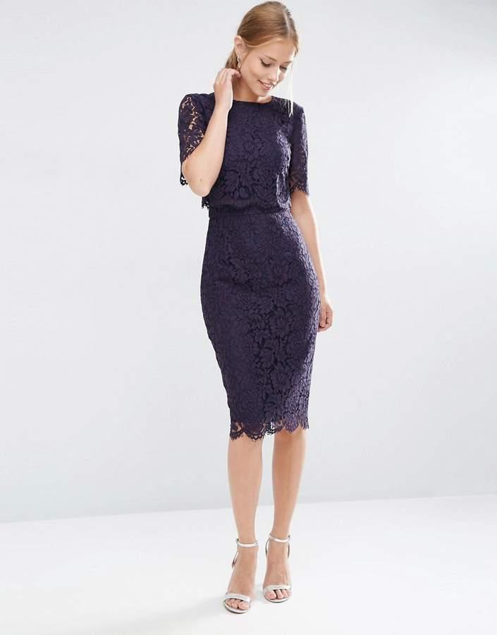 AsosASOS Lace Crop Top Midi Pencil Dress