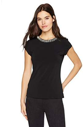 Adrianna Papell Women's Cap Sleeve Knit Top with Pearls
