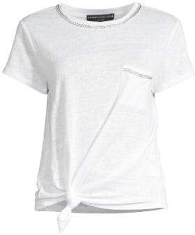 Generation Love Women's Billie Chain Linen Tee - White - Size Large