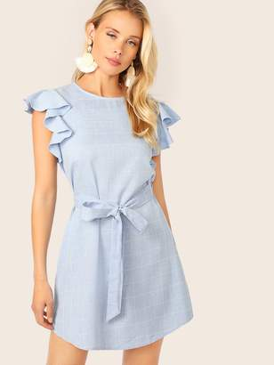 Shein Split Back Ruffle Armhole Belted Grid Dress