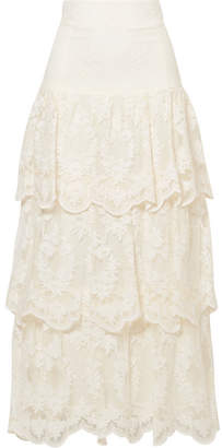 Brock Collection Sasi Tiered Embroidered Tulle Maxi Skirt - Ivory