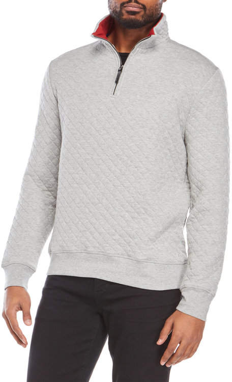 Diamond Quilted Quarter-Zip Pullover