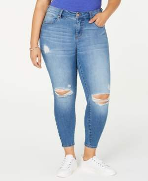 Celebrity Pink Trendy Plus Size Ripped Skinny Ankle Jeans
