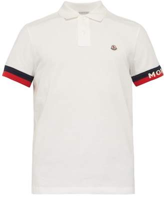 b3ba72e8 Moncler Jacquard Logo Cuff Cotton Pique Polo Shirt - Mens - White