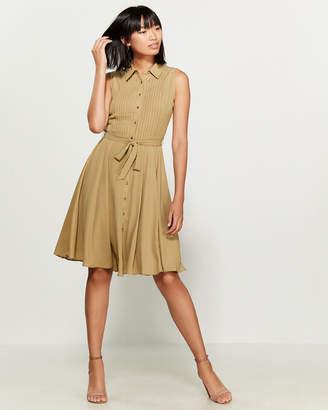Nanette Lepore Nanette Sleeveless Pintucked Solid Shirtdress