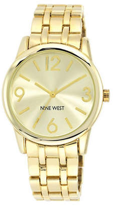 Nine West 1578CHGB Goldtone Stainless Steel Bracelet Strap Watch
