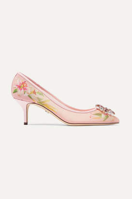 Dolce & Gabbana Crystal-embellished Patent Leather-trimmed Floral-print Mesh Pumps - Antique rose