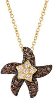 "LeVian 14k Honey Goldâ""¢, Vanilla and Chocolate Diamonds® Starfish Pendant Necklace"