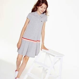 Lacoste Girls' Pleated Cotton Polo Dress