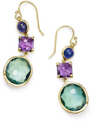 Ippolita 18K Rock Candy 3-Stone Drop Earrings in Purple/Green