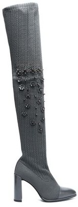 Stuart Weitzman Woman Leather-trimmed Embellished Pointelle-knit Over-the-knee Boots Anthracite Size 39
