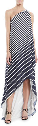 Halston One-Shoulder Printed Stripe Wrap Gown