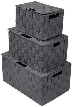 Sorbus Gray Woven Stackable Basket 3-Piece Set