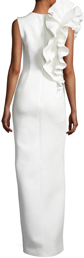 Jovani Sleeveless Ruffle-Trim Crepe Column Gown 6