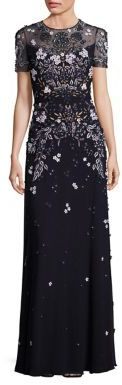Jenny Packham Short-Sleeve Floral Beaded Gown $5,765 thestylecure.com