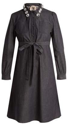 No. 21 - Crystal Embellished Cotton Chambray Shirtdress - Womens - Indigo