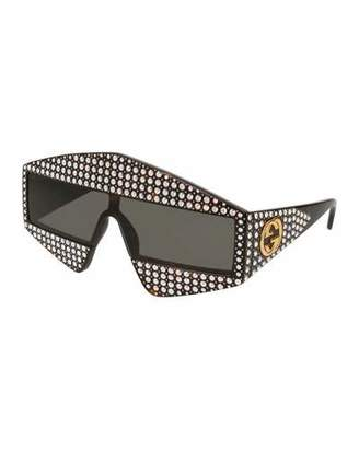 Gucci Crystal & Studded Rectangle Acetate Sunglasses