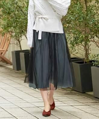 Le.coeur Blanc (ル クール ブラン) - le.coeur blanc チュール×シャイニープリーツスカート