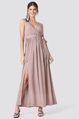 NA-KD Tie Waist Slit Maxi Dress Pink