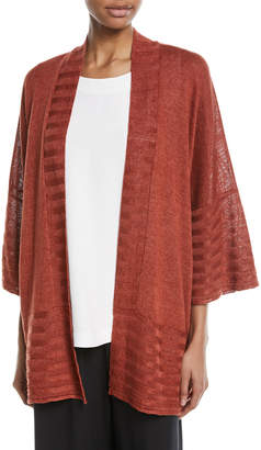 eskandar Hand-Loomed Knitted Lightweight Linen Poncho Cardigan with Oversized Rib Detail