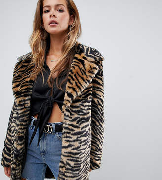 Missguided faux fur coat in tiger print