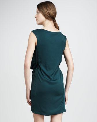 Halston Belted Satin Dress