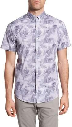 CALIBRATE Trim Fit Rose Print Sport Shirt