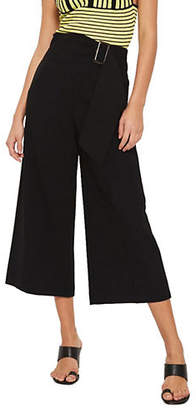 Topshop Bonded Cropped Wide-Leg Trousers