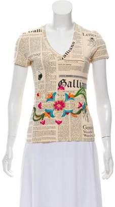 John Galliano Short Sleeve 'Newspaper' Graphic Print Top Beige Short Sleeve 'Newspaper' Graphic Print Top