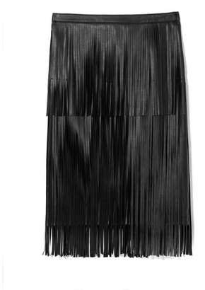 Vince Camuto Faux Leather Fringed Skirt