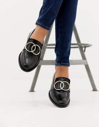 75bf2a67005 Asos Design DESIGN Melbourne leather ring loafer flat shoes
