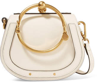 Chloé Nile Bracelet Small Leather And Suede Shoulder Bag - Ivory