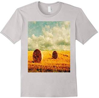 Country Farmer Rural Landscape Hay Bales T Shirts