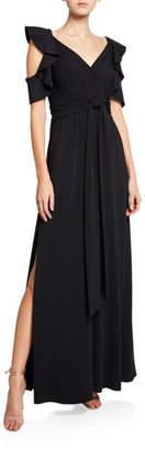 Halston V-Neck Cold-Shoulder Flutter-Sleeve Jersey Gown