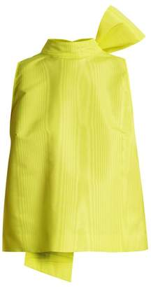 MSGM High Neck Oversized Self Fastening Ties Faille Top - Womens - Yellow