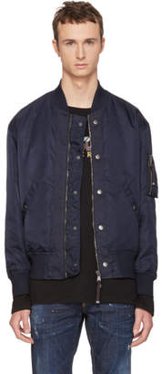 Diesel Black Gold Navy Nylon Bomber Jacket