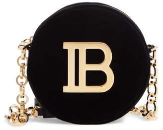 Balmain Disco Logo Velvet Shoulder Bag