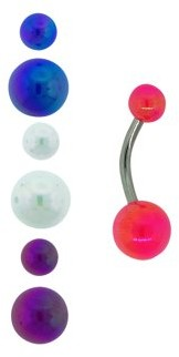 Body Magic Surgical Grade Aurora Banana Belly Rings with 4-Bead Set