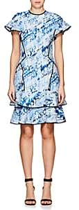J. Mendel Women's Abstract-Print Silk-Blend Cloqué Minidress-Blue