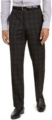 Sean John Men Classic-Fit Stretch Black Plaid Suit Separate Pants