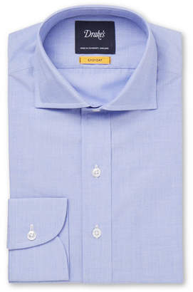 Drakes Drake's - Easyday Light-Blue Cutaway-Collar End-on-End Cotton Shirt