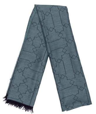 Johnstons of Elgin Abstract Print Fringed Scarf