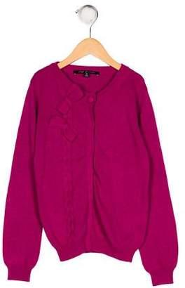 Lili Gaufrette Girls' Knit Bow-Accented Cardigan